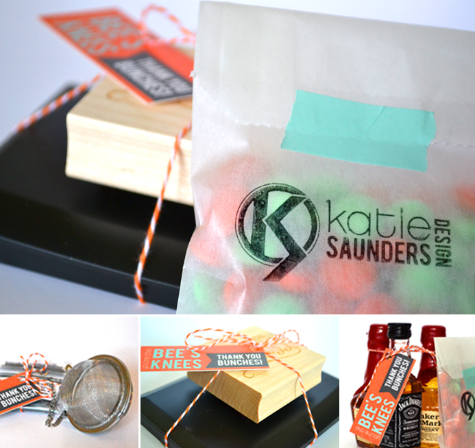 gift, client gift, packaging, branding, small business, creative entrepreneur, moo cards, mini cards, bee's knees, stamp, baker's twine, tea, loose leaf tea, infuser, liquor, alcohol, maker's mark, jack daniels, orange, self promo, grateful, thankful, gratitude
