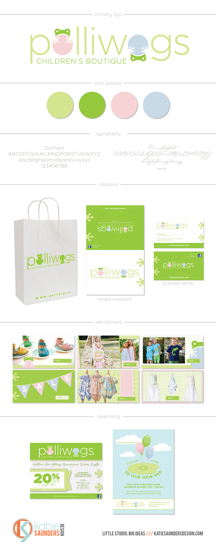 polliwogs, kids, children, childrens boutique, clothing, shoes, logo, design, branding, font, typography, collateral, promotion, web banners, web design, advertisement, postcard, color scheme, business card, stationery, notecard