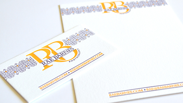 rae barnes photography, branding, brand board, letterpress, business cards, notecards, stationery, thank you notes, logo design, pattern design, purple, gold, collateral