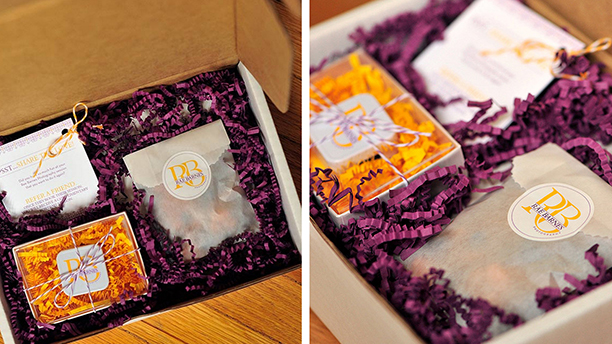 rae barnes photography, branding, brand board, logo design, purple, gold, packaging design, crinkle paper, baker's twine, cards, letterpress, favor bag, gift, thank you, shipping box, photographer, client gift