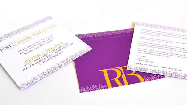 rae barnes photography, branding, brand board, referral card, photo release, digital image release, packaging design, purple, gold, logo design, info cards, referral, digital photo release