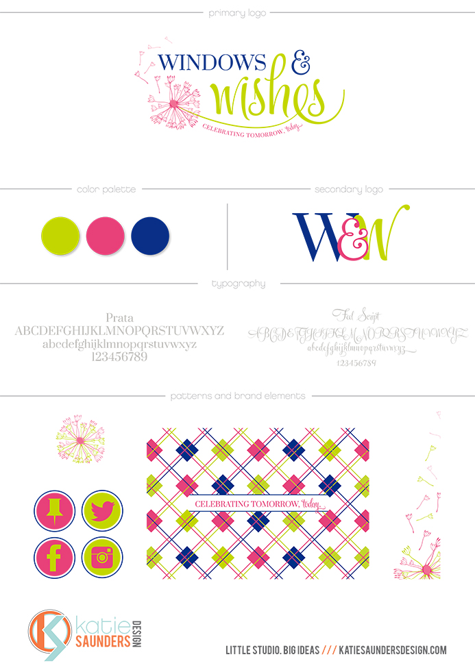windows and wishes, brand board, design, branding, logo, color palette, typography, font, secondary logo, pattern, texture, social media icons, bright, modern, bold, green, pink, blue