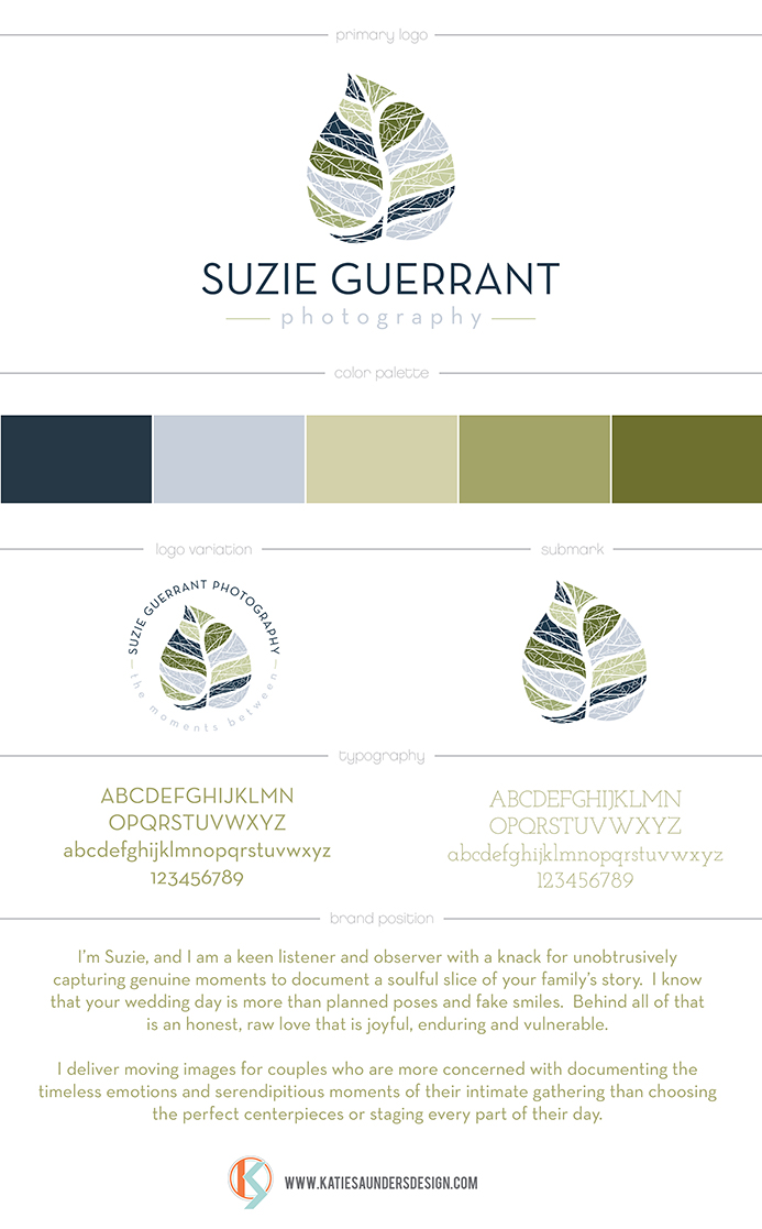 suzie guerrant photography, fall, leaves, natural, documentary photographer, cool colors, nature, natural, brand board, typography, color palette, brand positioning statement, tagline