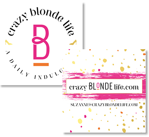 crazy blonde life fashion and food blog business card design by Katie Saunders Design - www.katiesaundersdesign.com